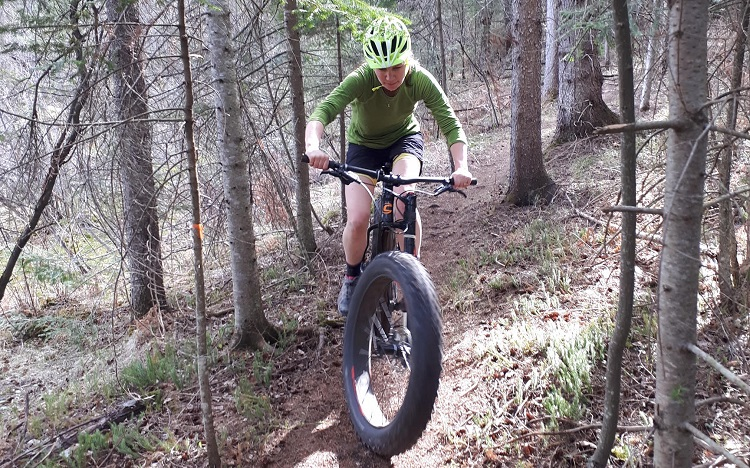 The HMBA maintains trails like this one, which rider Jenny Miller is navigating, at Echo Valley about three kilometres west of Dwight (Buck Miller)