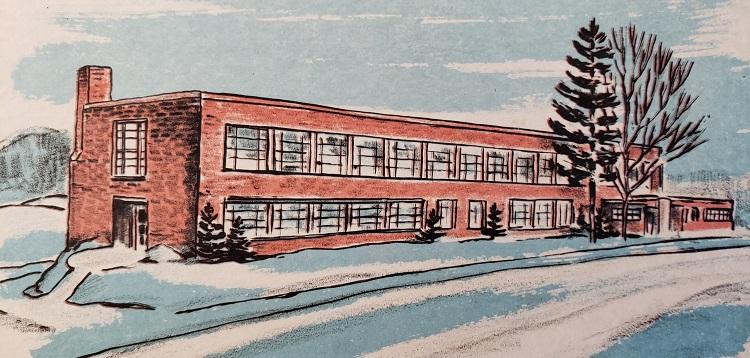 A watercolour print of Huntsville High School by local artist F.C. Johnston (Courtesy of Martha Briggs Watson)
