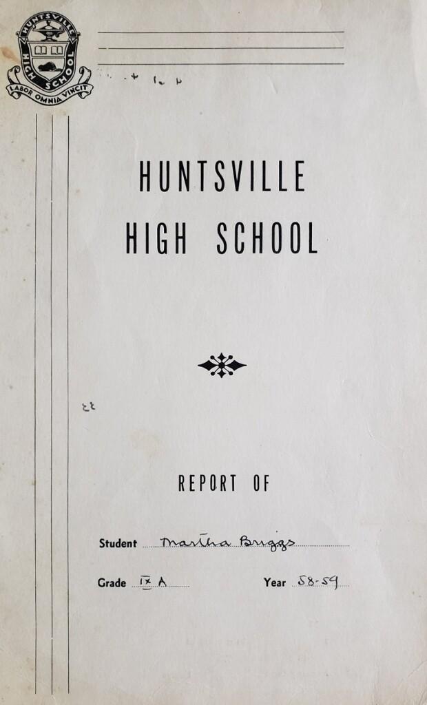 Grade IX Report card cover (courtesy of Martha Briggs Watson)