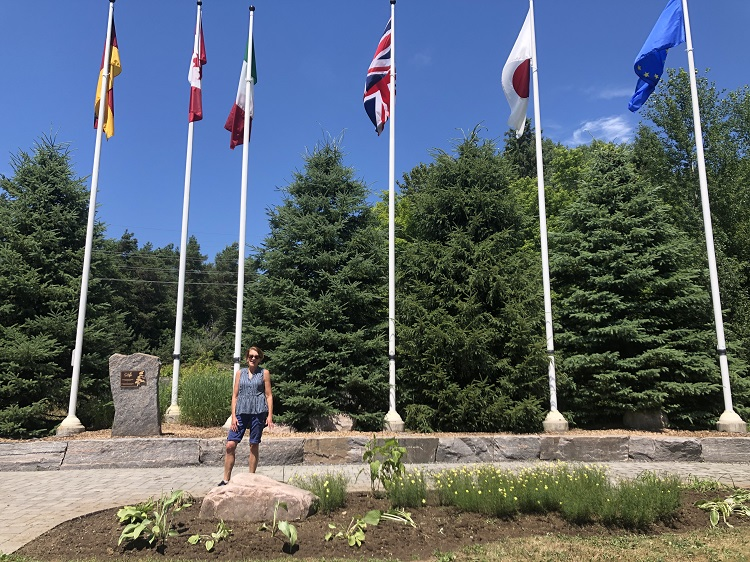 Helen Bastedo at Flag Park with some of the newly planted perennials (Sydney Allan)