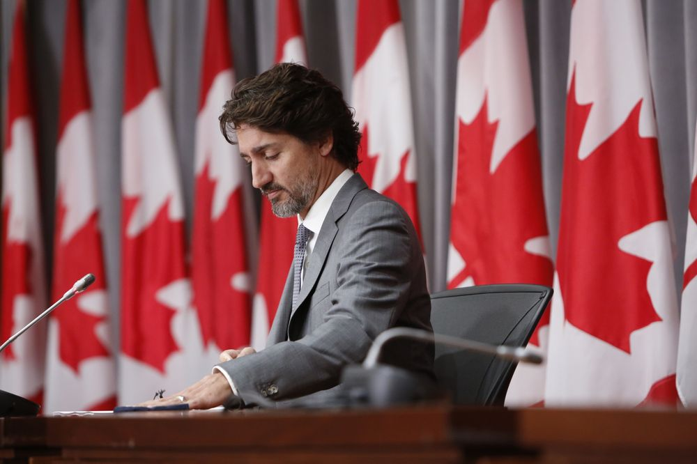 Prime Minister Justin Trudeau at a news conference on July 8, 2020 (David Kawai / Bloomberg)