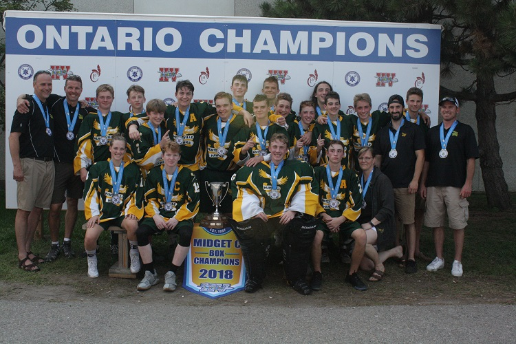 Kaiya Roberson with her gold-medal winning team at the provincial box lacrosse championships in 2018 (supplied)