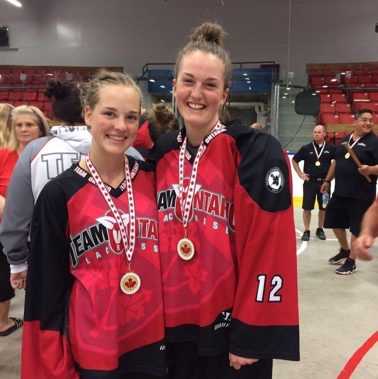 Kaiya Roberson with a Team Ontario teammate in 2016 (supplied)