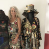 Karen Thorn at Fibre with two of her Frockful of Funk creations (Sydney Allan)