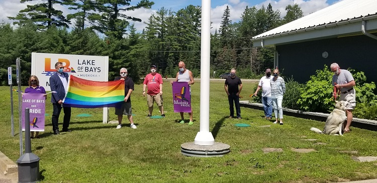 Pride flag raisings happened across Muskoka this week, including at the municipal office in Lake Of Bays (supplied)