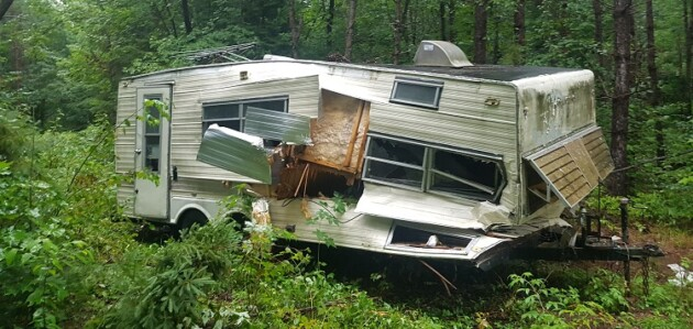 This trailer was abandoned on Crown land near Circular Lake in Lake of Bays (Photo: MNRF)